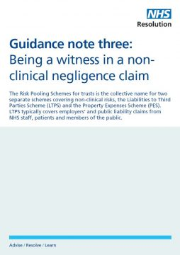 Link to Being a witness in a non-clinical negligence claim resource