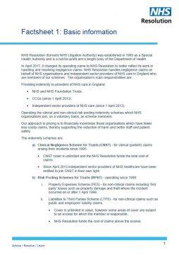 Link to Factsheet 1 – Basic information resource