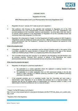 Link to Primary Care Appeals – Regulation 44 (prejudice test) guidance note resource