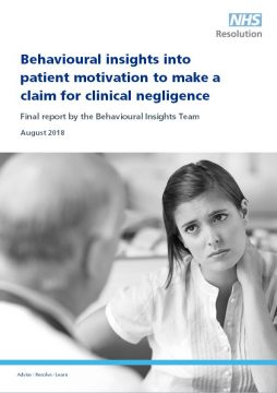 Link to Behavioural insights into patient motivation to make a claim for clinical negligence resource