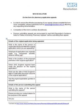 Link to Online appeal form for pharmacy market entry appeals resource