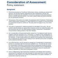 Read more: Consideration of assessment policy statement
