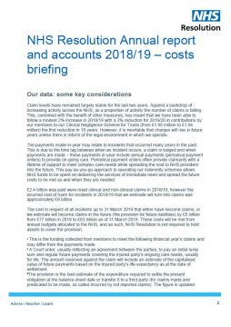 Link to NHS Resolution Annual report and accounts 2018/19 – Costs briefing resource